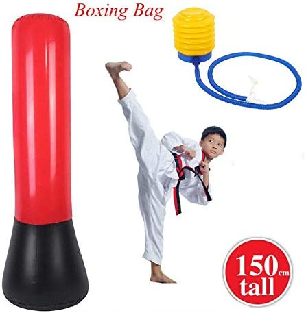 Indoor Outdoor Use lahomie Inflatable Punch Bag Adult Teens Punching Bag Freestanding Stress Punch Tower Large Punching Boxing Workout Bag with Foot Pump