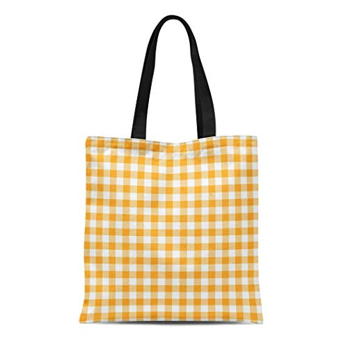 Semtomn Canvas Tote Bag Yellow Gingham and Buffalo Check Plaid Pattern Tablecloths Stamp Durable Reusable Shopping Shoulder Grocery Bag ()