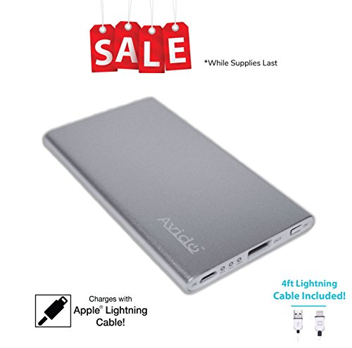 Avido World's Thinnest [Charge Apple Lightning Cable] 4000mAh 2.1Amp Output Portable Power Bank/External USB Battery iPhone X, 8, 8 Plus More - 4ft MFi Lightning Cable Included ()