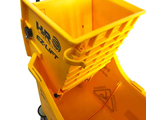 Hero EZ-LIFT Dual Cavity Commercial Mop Bucket with Wringer on Wheels, includes Dirty Water Bucket (36-Quart   9 Gallon Cleaning Bucket) by HERO IMPORTS (Image #7)