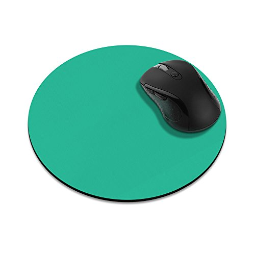 Non-Slip Round Mousepad, FINCIBO Solid Uncommon Teal Mouse Pad for Home, Office and Gaming - Pad Teal Mouse