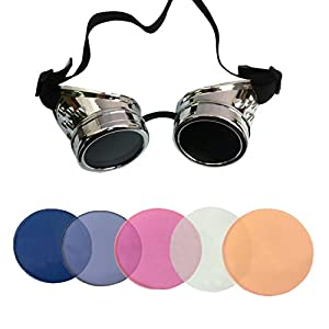 Minidot Steampunk Antique Safety Goggles with 5 Color Set of Rechangeable Lens (Black)