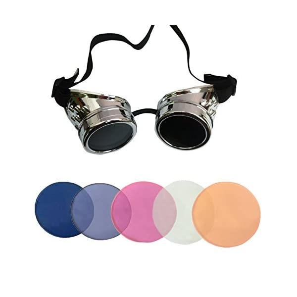 Minidot Steampunk Antique Safety Goggles with 5 Color Set of Rechangeable Lens 3