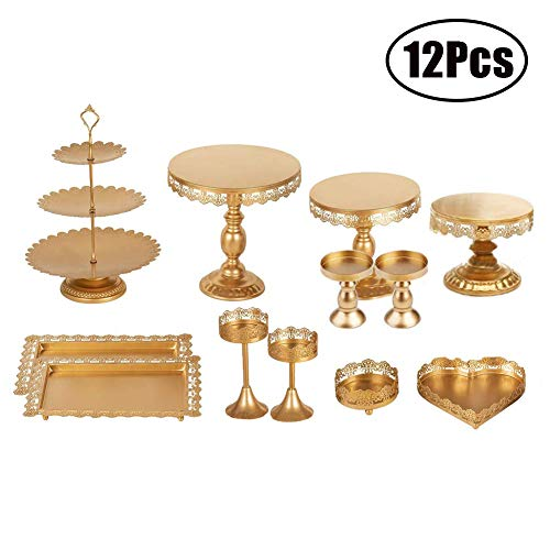 FEOOWV Set of 12 Pieces Golden Cake Stand and Pastry Trays Metal Cupcake Holder Fruits Dessert Display Plate for Baby Shower Wedding Birthday Party Celebration (Gold)
