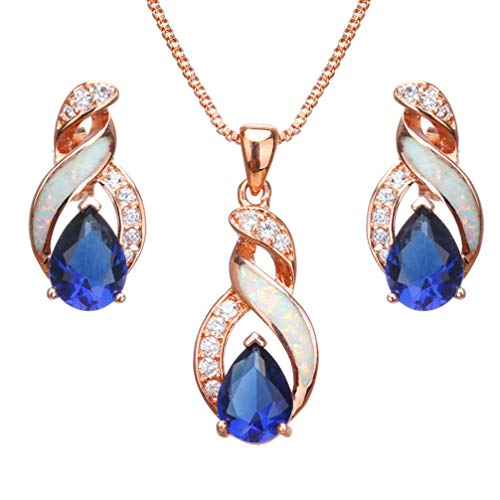 Hermosa Jewelry Sets Australian Opal Blue Sapphire Necklace Earrings Christmas Gifts (JS8) ()