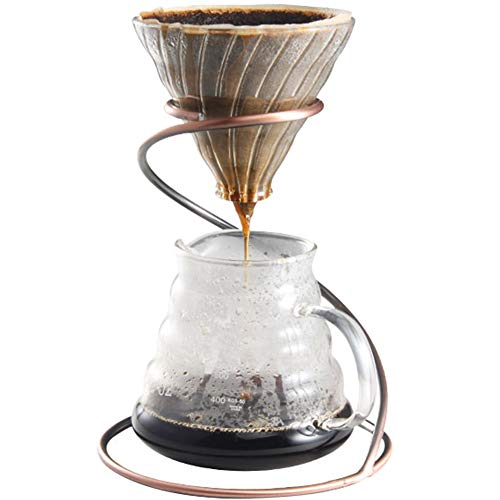 Drip Stand - TINTON LIFE Reusable Metal Pour Over Coffee Dripper Stand(Bronze)Circinate Shaped with Drip Pot and Coffee Filter Dripper