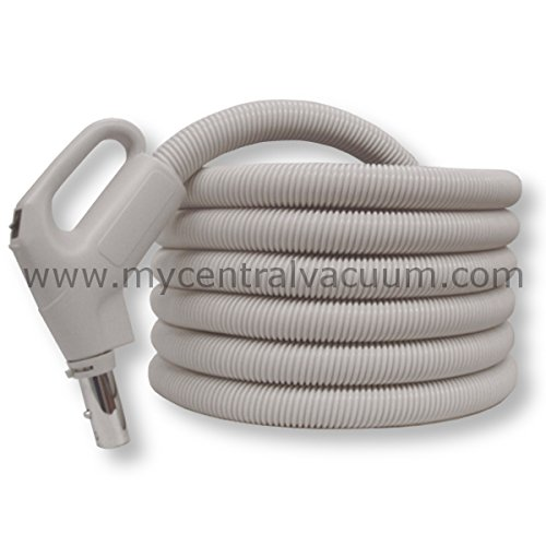 Electrified Gas Pump Handle Direct Connect Central Vacuum Hose, 30 Foot, Oyster White-Gray