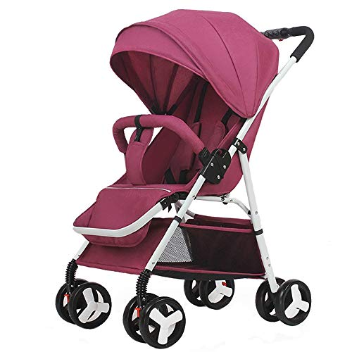 0-3 Years Old Baby Stroller Ultra Light Portable can sit Reclining Folding Trolley Baby Umbrella high Landscape Baby Stroller (Purple)