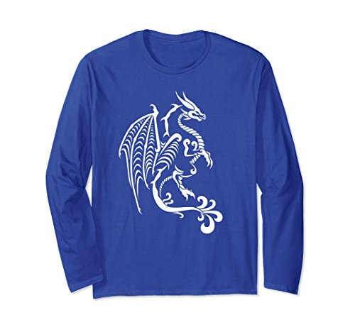 Unisex White Tribal Dragon Long Sleeve Shirt for Men, Women, & Kids XL: Royal Blue