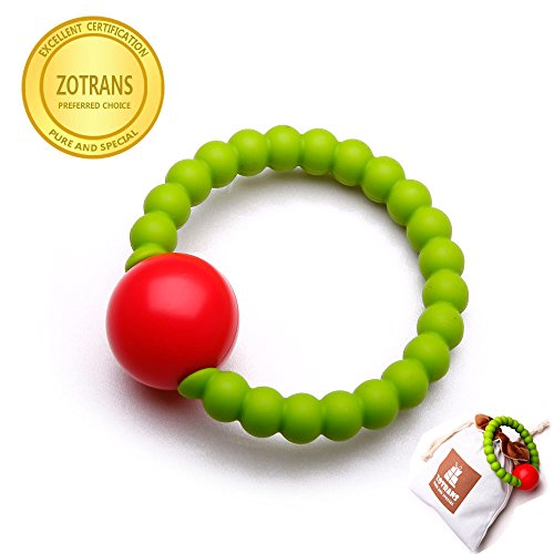 Baby Teething Toys- Massaging Teether Ring for Baby, Hand Bell Infant Rattles ,Soft and Chewable Bracelet ,Baby Shower Gift Toys, Infant Registry Gift (Green)