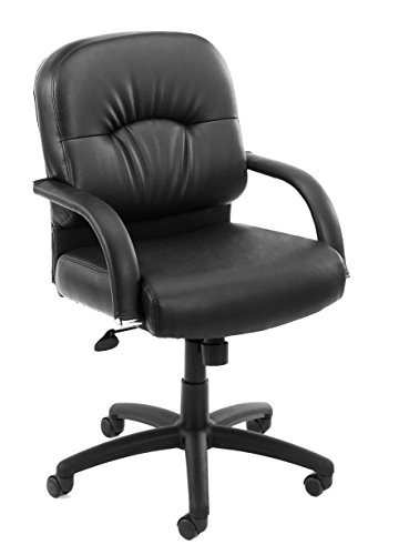 (Boss Office Products B7407 Mid Back Caressoft Chair with Knee Tilt in Black)