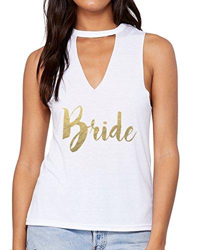 Emdem Apparel Bride Shirt Womens Wedding V Neck Choker Tank Top White -