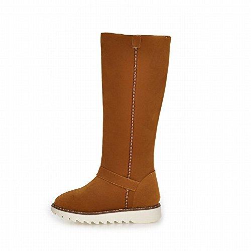 Cold Flat Tall Snow Carolbar Multi Womens on Comfort Warm Yellow Weather Boots Deep Fashion Buckle Pull I7PxwvB7q