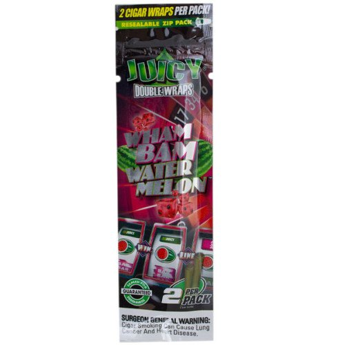 JUICY JAY'S DOUBLE 2 WRAPS WHAM BAM WATERMELON FLAVOR PACK OF 25