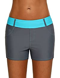 7d498e8d75d Womens Color Block Waistband Swim Board Shorts Plus Size S - XXXL