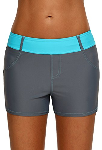 Aleumdr Womens Color Block Wide Waistband Swim Shorts Trunks Tankini Bottoms Boyshort Swimsuit Panty Pockets ,Blue,(US16-18)X-Large Bottom Blocks