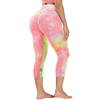 HURMES Women's High Waist Capris Yoga Pants Textured Ruched Butt Lifting Leggings Booty Scrunch Anti Cellulite Tummy Control Workout Tye Dyed Tights