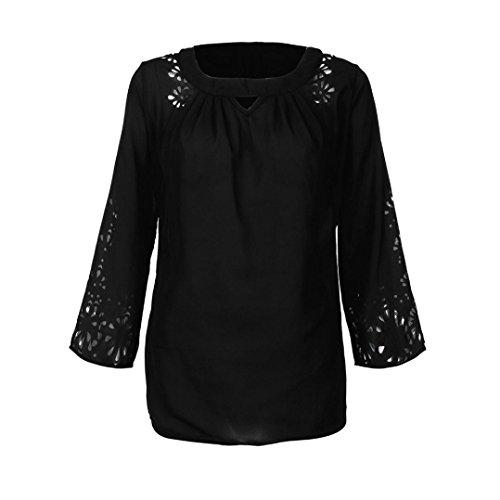 Shirt Mousseline Manches Chemisiers de Blouses T Tops de Noir Femmes 3 Soie 4 6wzq4E4