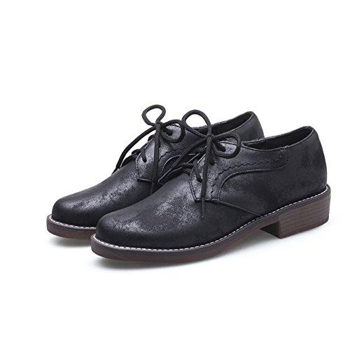 Liso Mujer Cuero Para Cordones Zapatos Negro de YORWOR OqwURT