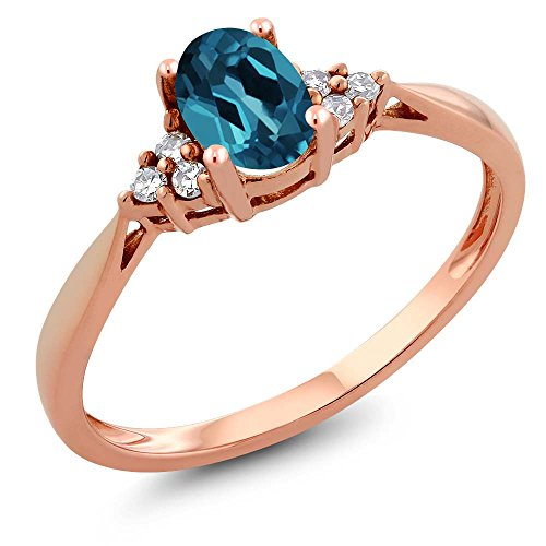 14K Rose Gold London Blue Topaz and Diamond Women's Ring (0.56 cttw, Available in size 5,6,7,8,9)