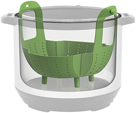 Instant Pot Official Silicone Steamer Basket, Compatible with 6-Quart and 8-Quart Cookers, Green    This versatile basket is an Instant Pot pressure cooker essential accessory! Steam healthy, nutritious foods in your Instant Pot using this official silicone steamer basket, specially designed for use in Instant Pot pressure cookers. Its smart design features secure-lock handles that neatly tuck under the lid of your Instant Pot while cooking, and provide safe, effortless removal of food after cooking. The handles also fold in and snap into the feet after use and cleaning which provides easy storage. The steamer features raised feet, which protect your food from boiling water while it's cooking. Use for steaming vegetables, fish & more in your Instant Pot. Made from BPA-free silicone, This steamer basket is heat resistant up to 450° F (232° C). The steamer basket is also dishwasher-safe for easy cleanup. Compatible with 6 quart & 8 quart Cookers.