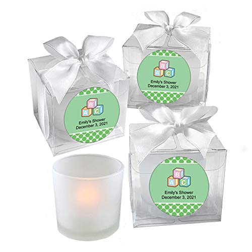 All Things Weddings, PERSONALIZED Votive Tealight Candle and Holder, Alphabet Blocks Design, Baby Shower Party Favors, Set of 40, Green