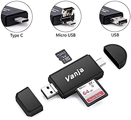 Vanja Type C Card Reader, 3-in-1 USB 2 0 Portable Memory Card Reader and  Micro USB to USB C OTG Adapter for SDXC, SDHC, SD, MMC, RS-MMC, Micro SDXC,
