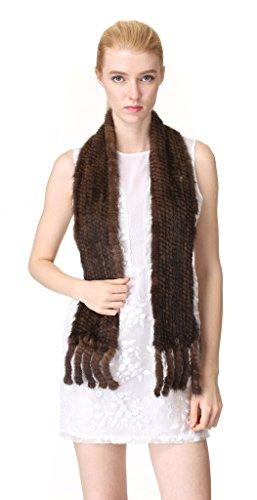 Mink Fur Headband Scarf - Vogueearth Women'Real Knitted Mink Fur Autumn Winter Scarf Brown
