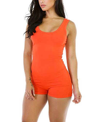 Amilia Sexy Sleeveless Tank Tops Short Romper Sports Jumpsuit Bodysuit One Piece Short Catsuit (M, Orange) ()