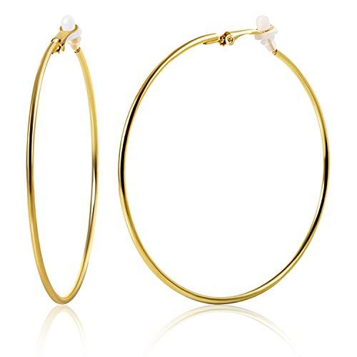 OwMell Large Stainless Hoop Earrings Clip On Earrings Non Piercing Earrings for Women Girls (Gold 7cm)