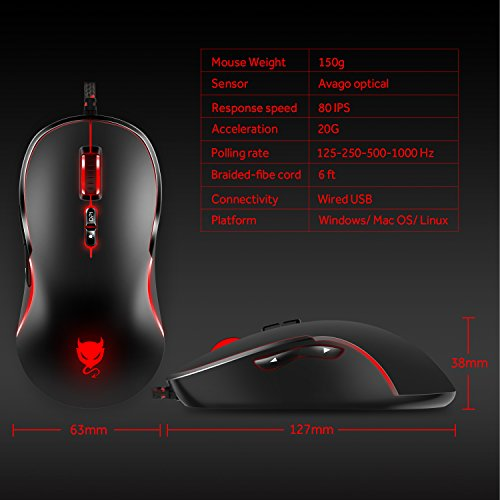 Tablet Cywulin 7 Button 7200DPI 7 Adjustable Level Breathing LED Backlights Optical Wired Professional Ergonomic Gaming Mouse Mice for PC,Laptop Desktop Notebook White