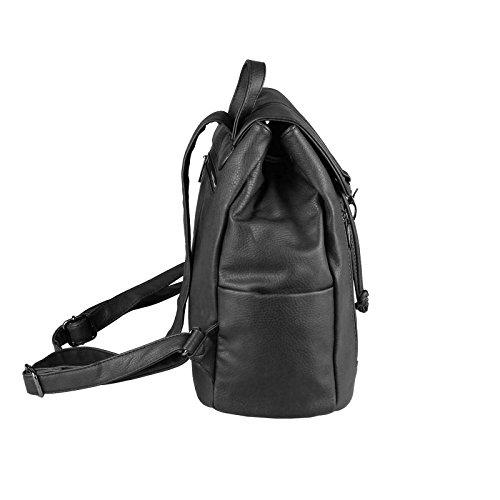 JJ Collection - Bolso mochila  para mujer marrón caqui 26x28x10 cm (BxHxT) Schwarz 34x36x17 cm