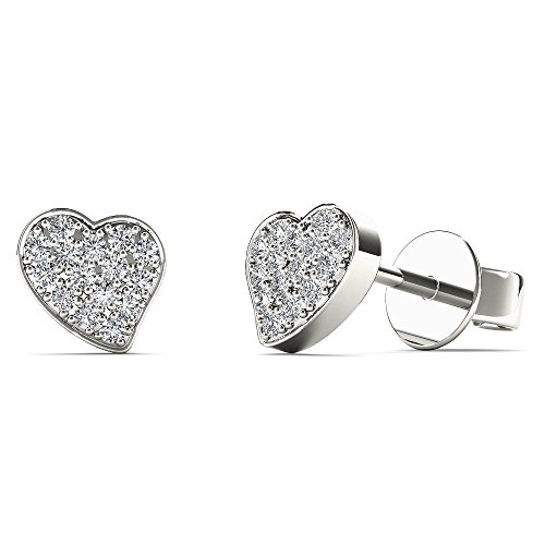 JewelAngel Kids Big Girl's Diamond Accent Stunning Heart Stud Earrings (H-I, I1-I2) 10K White Gold by JewelAngel Kids