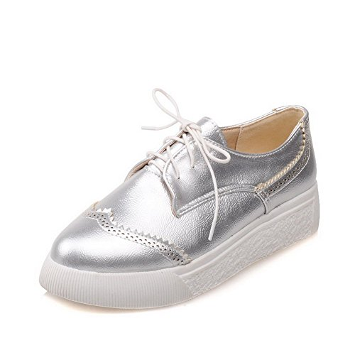 VogueZone009 Women's Pointed Closed Toe Low-Heels Soft Material Solid Lace-up Pumps-Shoes Silver T0Qvs95OBi