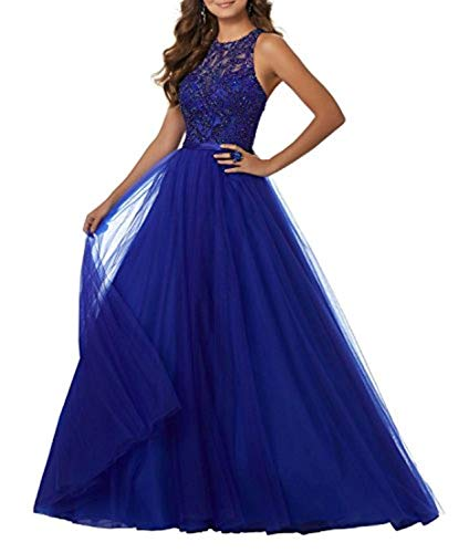 Promworld Women's Elegant Lace Evening Dress Long Prom Dress Evening Gowns for Women Sapphire Blue US2