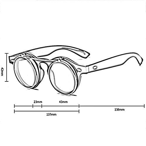 Noir Noir cercle la Les ronde pour femmes de métal de de lunettes LVZAIXI Couleur renversent hommes et Steampunk lentille Générique de soleil style des rétro en des 5ZF4wqTY