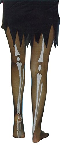 Bone Adult Tights (Ladies Mens Halloween Claw Horns Sfx Kit Gloves Paint Mask Cape Makeup Latex Blood Wig Accessories (Adult Bone Tights))