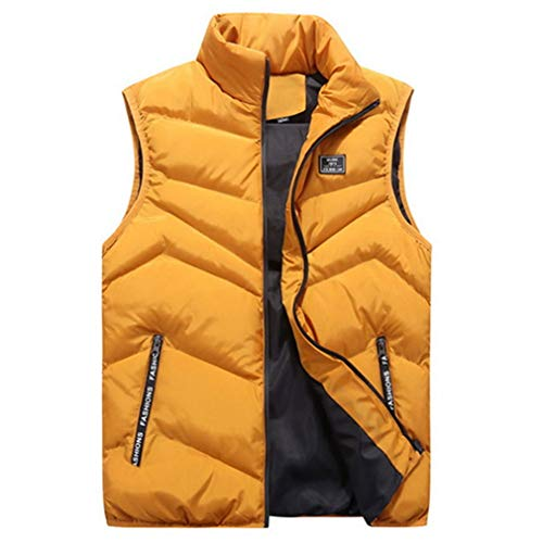 MEI Guihua Men Winter Sleeveless Jacket Waistcoat Warm Thick Casual Gilet Yellow - Backpack Canine Casual Hoodie