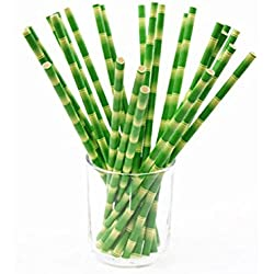 Yamalans 25Pcs Bamboo Pattern Paper Straws,Disposable Drink Straw Wedding Party Favors