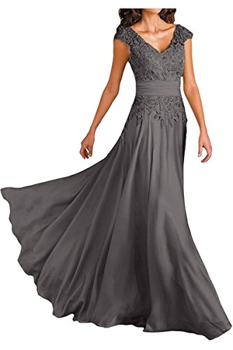Women's Grey Double V-Neck Cap Sleeves Long Chiffon Mother of Bride Dresses Empire Waist Size -