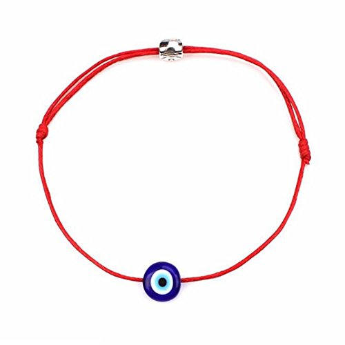 - COLORFUL BLING String Kabbalah Bracelet Braided String with Rotating Evil Eye- Jewish Amulet Pendant Jewelry for Success Protection Lucky - Red