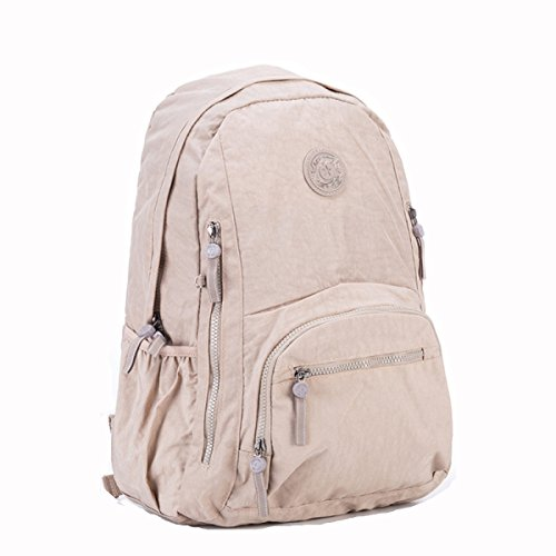Khaki Gshga College Style Backpack Nylon Student Backpack Woman's Travel Bagwaterproof beige SvnFqwSpxr