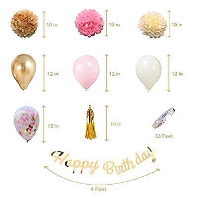 Birthday Decoration,Balloons in Gold & Pink,Female 30th 40th 50th Birthday  Party Supplies Birthday,Happy Birthday Banner,Rose Gold Confetti Balloons,Paper Flowers,Tassel Garland: Toys & Games
