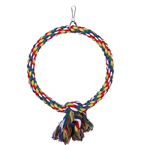 (DETOP Bird Rope Perch Cage Chew Toys,Parrot Natural Cotton Swing S & L Size Climbing Standing Bar (Small))