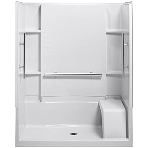 shower stalls with seats. Sterling Plumbing 72290103-V-0 Accord 36-Inch X 60-Inch 74-1/2-Inch Shower Kit With Seat And Grab Bars, White Stalls Seats S