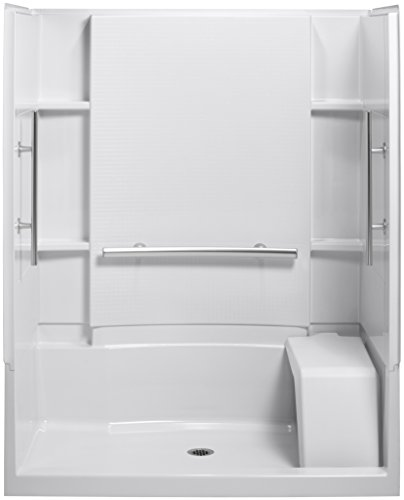 STERLING 72290103-N-0 Accord 36-Inch x 60-Inch x 74-1/2-Inch Shower Kit with Seat and Grab Bars, White ()