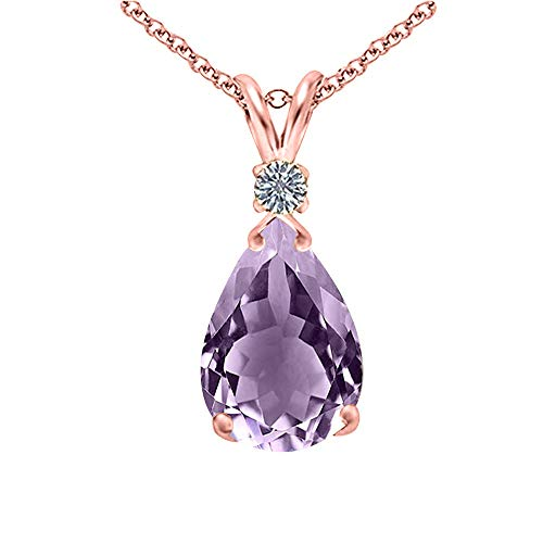 Voss+Agin Genuine Amethyst and Diamond Pear Drop Pendant, 10x7mm, in 14K Rose Gold Over Sterling Silver, 18''