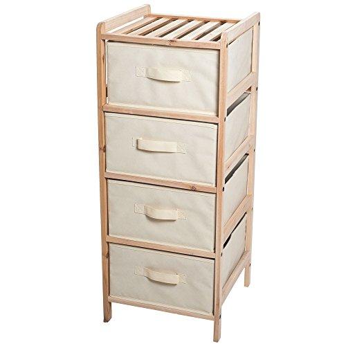 Lavish Home Organization Wood Fabric Four Drawer Unit With Shelf Top