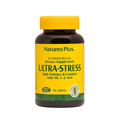 NaturesPlus Ultra-Stress with Iron, Sustained Release - 90 Vegetarian Tablets - Stress Relief Supplement with B-Complex & Vitamin C - Energy Booster, Mood Enhancer - Gluten-Free - 90 Servings