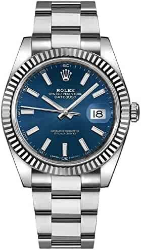 Men's Rolex Datejust 41 Blue Dial Oyster Bracelet Watch 126334